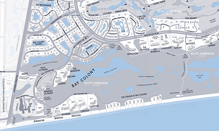 Real Estate MAP of Bay Colony Naples, Florida showing Pelican Bay condominium names, home property addreses and streets