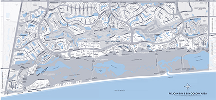 Real Estate Map of Pelican BayNaples, Florida showing Pelican Bay condominium names, home property addreses and streets in Pelican Bay